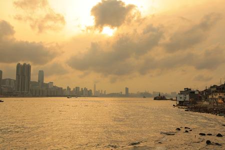 the Hong Kong fishing valley at sunset , Lei Yue Mun photo