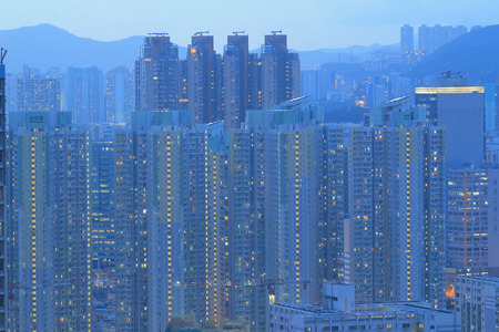 kowloon: Kowloon residential building at night