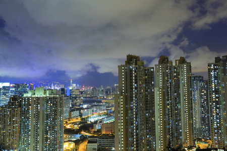 Kowloon residential building at night photo