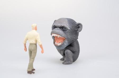 ape: a figure man face of ape Stock Photo