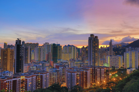 cityspace: a Downtown of Hong Kong, high density, poor area. Stock Photo