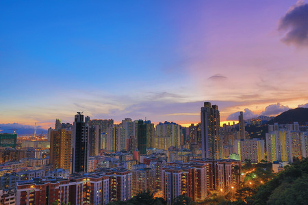 density: a Downtown of Hong Kong, high density, poor area. Stock Photo