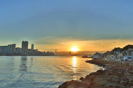 the Hong Kong fishing valley at sunset , Lei Yue Mun 版權商用圖片
