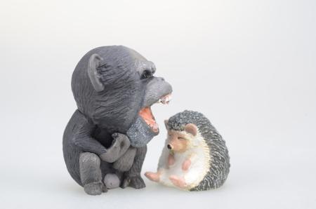 ape: figure of  angry ape face of sleeping hedgehog