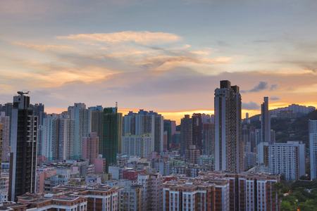 close up view: a Downtown of Hong Kong, high density, poor area. Editorial