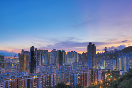 po: a Downtown of Hong Kong, high density, poor area. Stock Photo