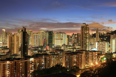 po: Residential district in city at night, hk