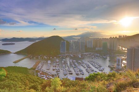 typhoon: the Typhoon Shelters in hong kong aberdeen Stock Photo