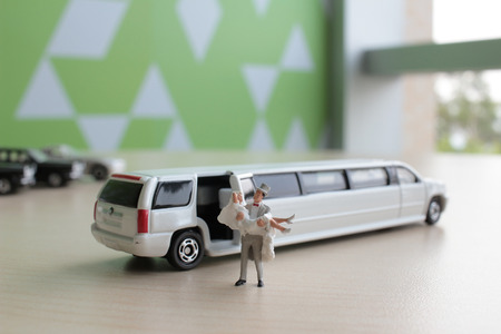 the small figure wedding with car 版權商用圖片 - 42461912