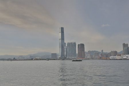 icc: view from Hong Kong island in west Kowloon Editorial