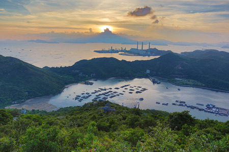 ling: the view of Lamma from  Ling Kok Shan Stock Photo