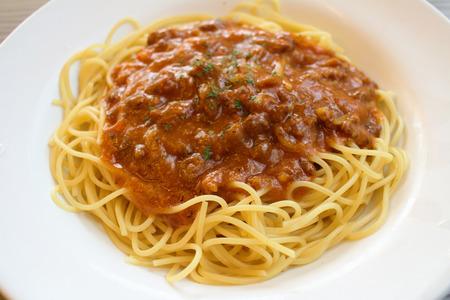bolognaise: the Traditional Italian spahgetti Bolognaise on dish Stock Photo