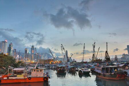 causeway: urban of hk at causeway bay typhoon shelter