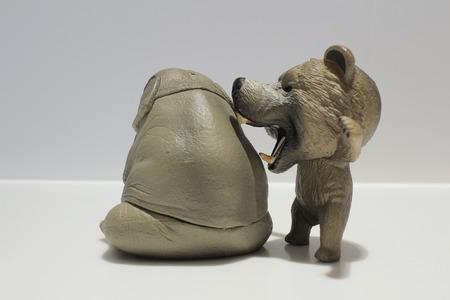 toy elephant: a Toy Elephant and bear on White Background