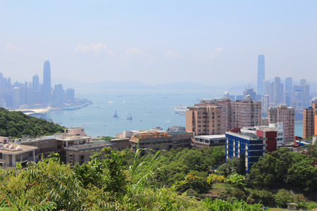 crepuscular: landscape view with crepuscular rays of Hong Kong Stock Photo