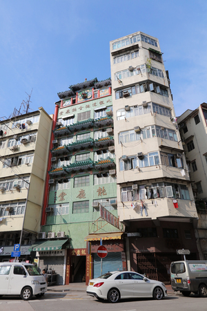 sham: the Tong lau old house at Sham Shui Po hong kong