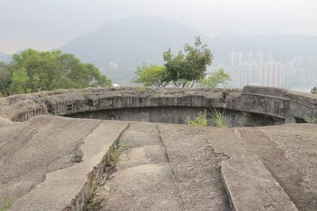 over grown: the abandoned World War II building, Hong Kong Stock Photo