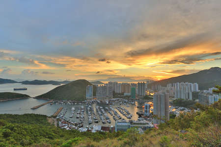 city night: the Sunset at hill top in Hong Kong