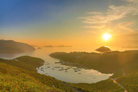 dawning: the Po Toi O from higher perspective, Sai Kung Stock Photo