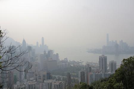 pollution air: an Air pollution hangs ove Hong Kong from Sir Cecils Ride