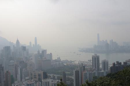 sir: an Air pollution hangs ove Hong Kong from Sir Cecils Ride