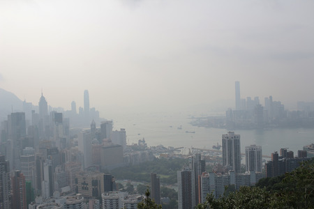 ove: an Air pollution hangs ove Hong Kong from Sir Cecils Ride