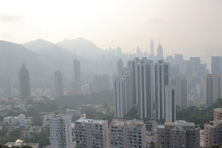 hong kong island: an Air pollution hangs over the Hong Kong Island