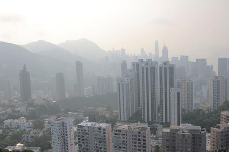 pollution air: an Air pollution hangs over the Hong Kong Island