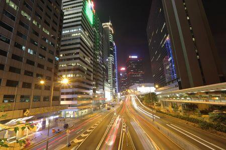 city traffic: traffic in modern city at night, Hong Kong. Stock Photo