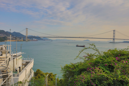 schlagbaum: the Ting Kau and Tsing Ma suspension bridge in Hong Kong