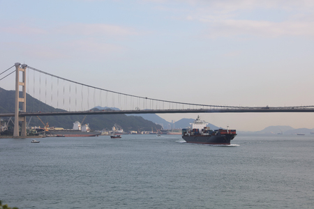 turnpike: the Ting Kau and Tsing Ma suspension bridge in Hong Kong