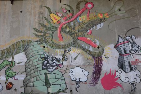 the graffiti urban art elements hong kong Editorial