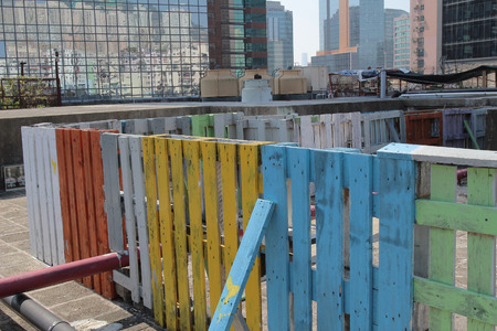 out door: the colorful  Wooden Palisade at out door