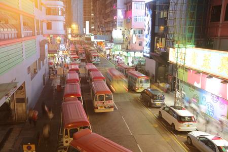 min: red min bus at hong kong at mong kok