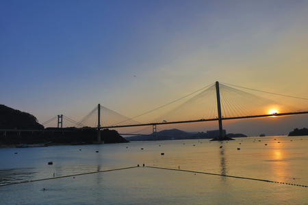 ting: Ting Kau Bridge of Hong Kong at Sun set Stock Photo