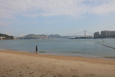 cable bridge: Cable bridge in Hong Kong from Anglers Beach view