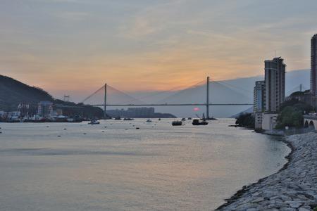 ting: Ting Kau Bridge with busy traffic in Hong Kong