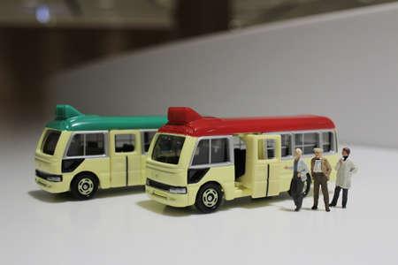minibus: the toys of minibus figure with white background Stock Photo
