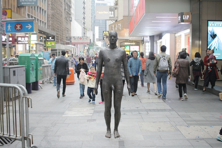 cast in place: Statue of man at central hong kong