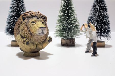 lion figurines: the fun of figure in miniature world Stock Photo
