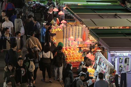 street market: Busy street market at Fa Yuen Street at Mong Kok Stock Photo