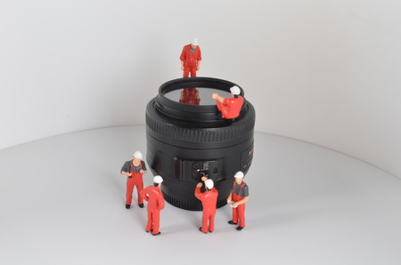 the  image of mini figure dolls work with lens Stock Photo