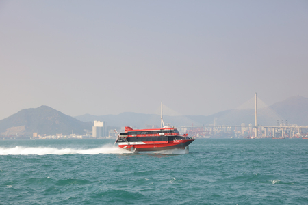 high speed: High speed hydrofoil ferry boat between Hong Kong and Macau. Editorial