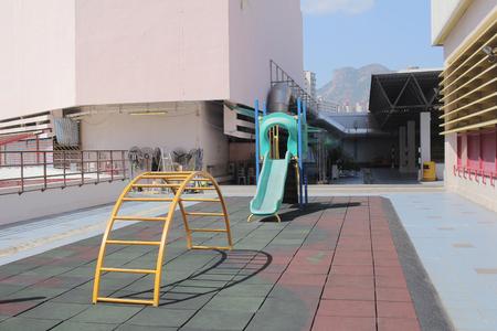 a colourful children playground equipment. Stock Photo