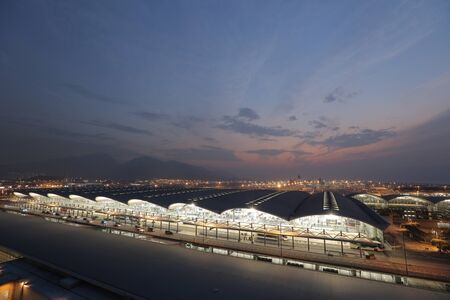comercial: Airport overview, hong kong airport at night 2016 Editorial