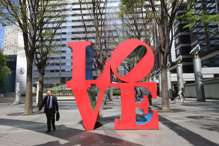 public project: Designed by Robert Indiana sculpture is a part of Shinjuku I-Land public art project.