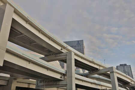 overlapped: Close up overlapped highway in Yokohama under sky Stock Photo