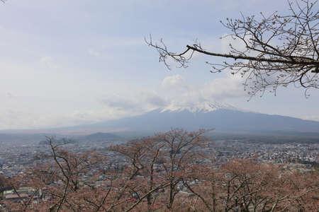 sengen: view of fuji mountain from step up way  to Arakura Sengen Stock Photo