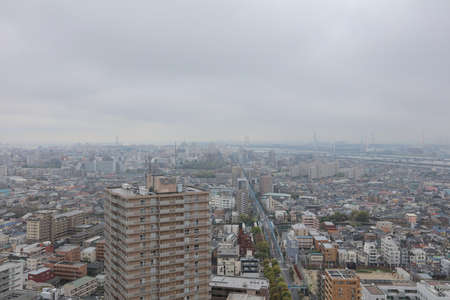 river scape: Tokyo city from aerial view from Funabashi