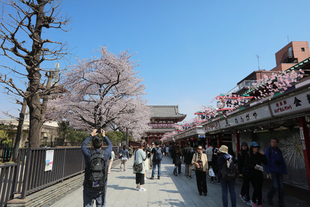 dori: food and souvenirs shops in Senso-ji shrine, Asakusa Editorial